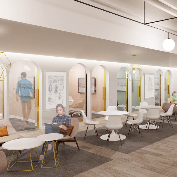 Graphic rendering of the Kendra Scott Student Center in the College of Fine Arts