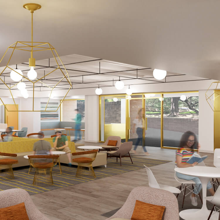 A third graphic rendering of the Kendra Scott Student Center in the College of Fine Arts