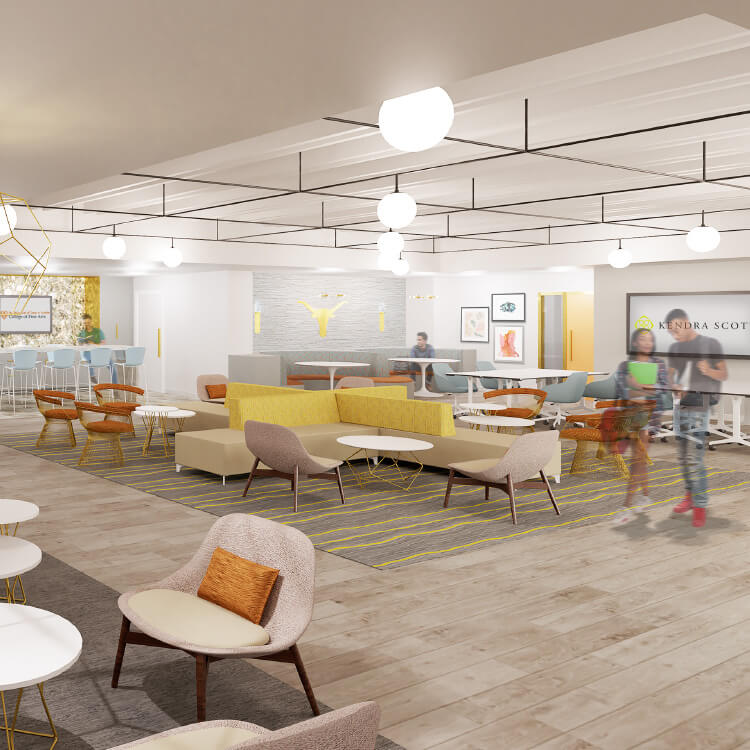 A second graphic rendering of the Kendra Scott Student Center in the College of Fine Arts